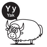 Y Yak cartoon and alphabet for children to learning and coloring. Y Yak animal cartoon and alphabet for children to learning and coloring page vector Stock Photos
