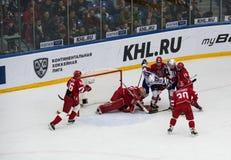 Y. Yakovlev (44) fall. PODOLSK, RUSSIA - NOVEMBER 11, 2016: Y. Yakovlev (44) fall on hockey game Vityaz vs SKA on Russia KHL championship on November Royalty Free Stock Image