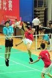 Y. Yang en L. Wai in actie Royalty-vrije Stock Foto
