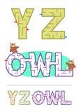 字母表迷宫比赛Y, Z和词迷宫猫头鹰 免版税库存照片