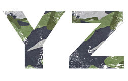 Y, Z Alphabet From Military Fabric Texture. Royalty Free Stock Image