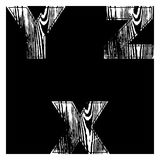 Y, Z, X, Letters White on a black background. Wood Design Vector. Y, Z, X,, Letters White on a black background. Wood Design Vector illustration stock illustration