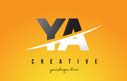 YA Y A Letter Modern Logo Design with Yellow Background and Swoo Stock Photo