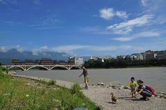 Yaan China-Beautiful Qingyi River under the sun Stock Image