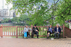 Yaan China-Old men enjoy leisure time Stock Photography
