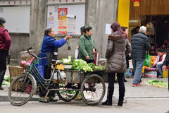YAAN China-An old woman selling vegetables Royalty Free Stock Photos