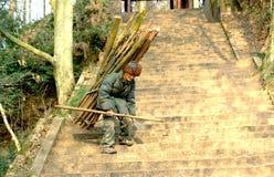 Yaan een China-oud mensen Dragend brandhout neer stock foto