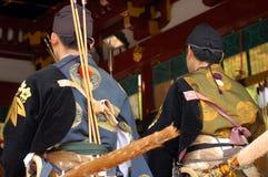 Yabusame archers praying Stock Photos
