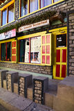 Yac Donalds restaurant. View of facade of tibetan restaurant Yac Donalds painted and decorated in traditional style. Kagbeni, Nepal Royalty Free Stock Image