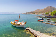 Yach on the coast of Crete Stock Photos