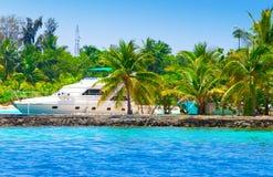 Yacht à un amarrage parmi les palmiers tropicaux Photographie stock