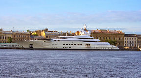 Yacht. Most comfortable yacht on the quay English Embankment in St. Petersburg Stock Photo
