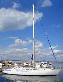 Yacht. White yacht in the bay Royalty Free Stock Photography