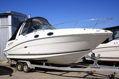 Yacht. The motor yacht of a business class is exposed on sale Royalty Free Stock Photography