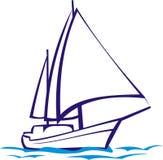 Yacht. `s silhouette, regatta or adventure, sea stock illustration