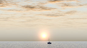 Yacht. Floating in a sunset (silent ocean Royalty Free Stock Photo
