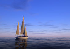 The yacht. Yacht in the high sea Royalty Free Stock Photography