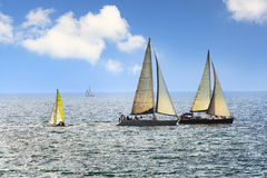 The yacht. In the sea Stock Images