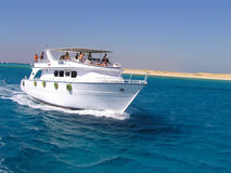 Yacht. Big white yacht is sailing in the Red Sea Stock Photo