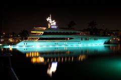 Yacht. Luxurious modern private yacht at the pier at night Royalty Free Stock Image