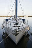 Yacht. Anchored in the marina, calm water, photographed fom the front stock photos