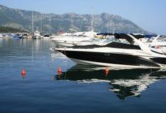 Yacht. Small sailboat in a Budva harbor (Montenegro, Adriatic sea Stock Photos