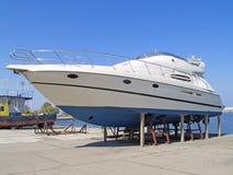 Yacht. Anchored in the shipyard stock photos