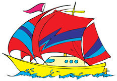 Yacht. Vector clip-arts / children's illustrations for your design Royalty Free Stock Images