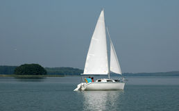 Yacht. On the lake royalty free stock image