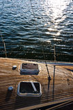 Yacht. A photo of a front side of timber yacht at sunset Royalty Free Stock Image