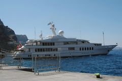 Yacht. Large Yacht in Santorini harbour Stock Images