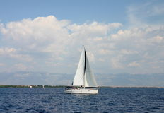 Yacht. White yacht sailing in Croatia on the sea Royalty Free Stock Images