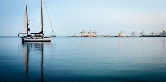 Yacht on Aarhus Bay, Denmark Royalty Free Stock Photography