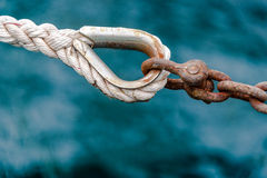 Yacht accessories - Hold on. Rope and chain are two different things connected together to be strong and hold heaviness Royalty Free Stock Photography