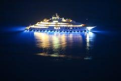 Yacht in Adriatic sea. An illuminated luxury yacht in the Adriatiac sea at night in Dalmatia, Croatia Stock Image