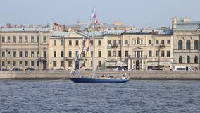 Yacht `Adventure` of the Ministry of Defence of Russia in celebration of Navy Day on Neva river stock video footage