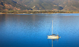 Yacht in Aegean sea Stock Photos