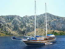 Yacht in aegean sea Stock Photography