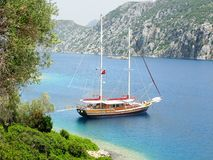 Yacht in aegean sea turkey Stock Photo