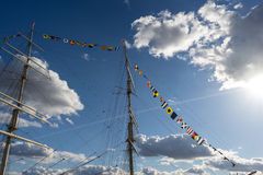 The yacht against sky und clouds Royalty Free Stock Photography