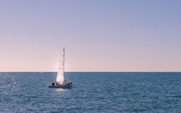 Yacht alone. In the middle of the sea Stock Photography