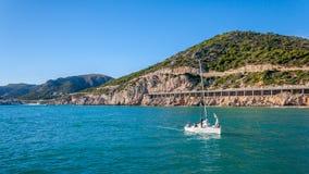 Yacht alone Stock Photo