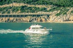 Yacht alone Stock Photos
