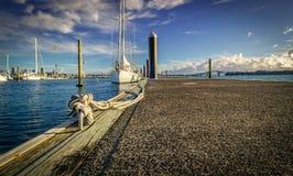 Yacht amarré Photos libres de droits