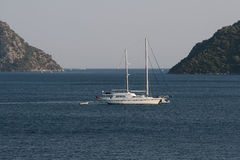 Yacht on anchor in the Aegean Sea Royalty Free Stock Photos