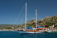 Yacht at anchor in the bay, the Mediterranean Sea Stock Photography