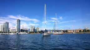 Yacht at anchor in False Creek Royalty Free Stock Photo