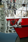 Yacht and anchor. Yacht with anchor hanging in front Royalty Free Stock Photos