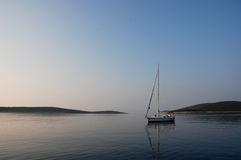 Yacht at anchor,Hvar,Croatia Stock Photography