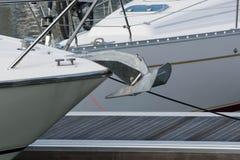 Yacht anchor on a pontoon. A yacht and anchor on a marina pontoon Royalty Free Stock Photography